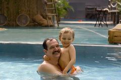 Boy with father. Happy boy stock images