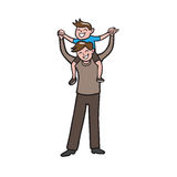 Boy on father shoulder cartoon Royalty Free Stock Image