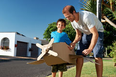 Boy father toy aeroplane Royalty Free Stock Photo