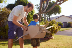 Boy father toy aeroplane Stock Photography