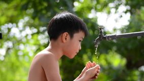 Boy and faucet stock video