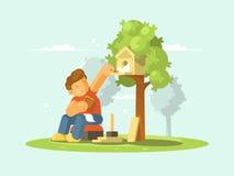 Boy feeding bird in birdhouse. Young boy feeding bread crumbs bird in birdhouse. Vector illustration Stock Image