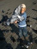 Boy is feeding the birds Stock Image