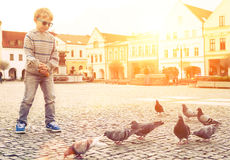 Boy feeding doves on the old city square Royalty Free Stock Image