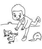 Boy feeding ducks coloring page. Hand drawn boy feeding ducks coloring page for kids Stock Image