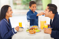 Boy feeding father Stock Images