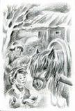 Boy feeding a horse. Senior villager near hayloft is on background Stock Photos
