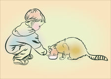 The boy feeds a cat. Sketch, hand drawn.Line drawing Royalty Free Stock Photo