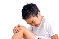Boy feel pain from a dry wound Stock Photography