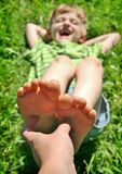 Boy Feet tickle Royalty Free Stock Photography