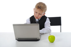 Boy fell asleep at the computer Stock Image