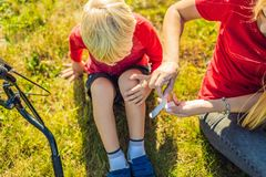 The boy fell off the bicycle, his mother pastes a plaster on his knee stock photo