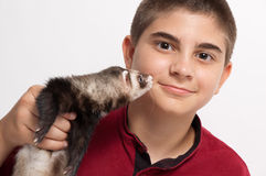 Boy with ferret Royalty Free Stock Image