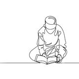 Boy in fez reading Koran. Continuous line drawing vector illustration Royalty Free Stock Images