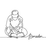 Boy in fez reading Koran. Continuous line drawing vector illustration Stock Image