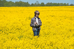 Boy on field Stock Image