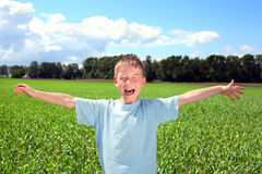 Boy in the field Stock Image