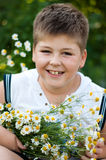 Boy with field daisies Royalty Free Stock Image