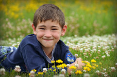 Boy in Field of Flowers. A young boy laying in a field of clovers and some yellow flowers royalty free stock image