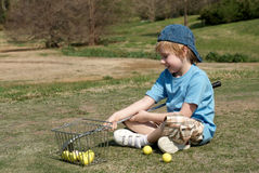 boy field golf little Стоковое Фото