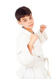 Boy fighting techniques isolated Stock Images