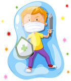 Boy fighting with virus Stock Images