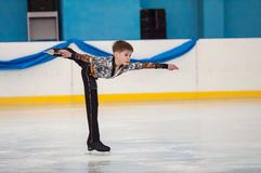 Boy in figure skating, Orenburg, Russia Royalty Free Stock Image