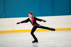 Boy in figure skating, Orenburg, Russia Royalty Free Stock Photography