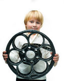 Boy with film Royalty Free Stock Photo