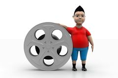 Boy and Film Reel In  Background Royalty Free Stock Photos