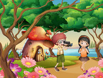 Boy filming girl in the garden. Illustration Stock Image
