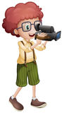Boy filming with vdo camera. Illustration Royalty Free Stock Photography