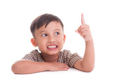 Boy with finger up Stock Image