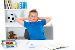 Boy finished his homework Royalty Free Stock Images