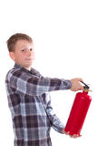 Boy with a fire extinguisher Royalty Free Stock Photography
