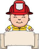 Boy Firefighter Banner Stock Image