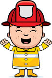 Boy Firefighter Excited. A cartoon illustration of a firefighter boy looking excited Royalty Free Stock Image