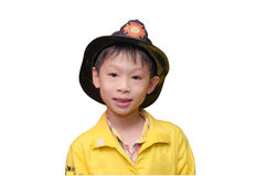 Boy in firefighter uniform Royalty Free Stock Images