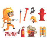 Boy Fireman, Kids Future Dream Fire Fighter Professional Occupation Illustration With Related To Profession Objects. Smiling Child Carton Character With Job Royalty Free Stock Photography