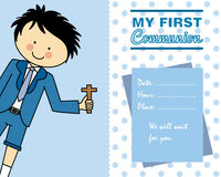 Boy First Communion card. Space for text Stock Photos