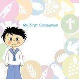 Boy first Communion. Invitation Card Stock Photos