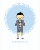 Boy First Communion. Invitation card for first communion boy Royalty Free Stock Image