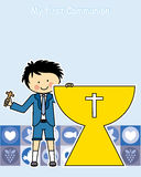 Boy First Communion. First Communion boy. Invitation Card. children with chalice Stock Image