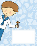 Boy first Communion. Invitation. Space for text Stock Photos