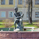 Boy with Fish - the fountain in Kineshma, Russia Stock Image