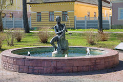 Boy with Fish - the fountain in Kineshma, Russia Royalty Free Stock Photo