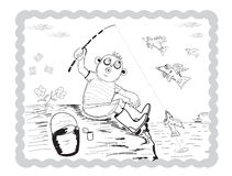 Boy fisherman. Boy fishing on the bank of fish fly in the sky royalty free illustration