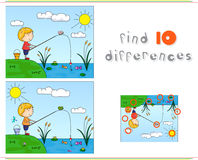 A boy fisherman fishing on the river bank. Educational game for. Kids: find ten differences. Vector illustration Royalty Free Stock Photography