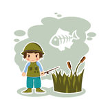 Boy fisherman in vector format Royalty Free Stock Photo