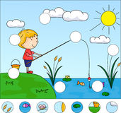 Boy Fisherman With Fishing Rod On The Lake. Complete The Puzzle Royalty Free Stock Image
